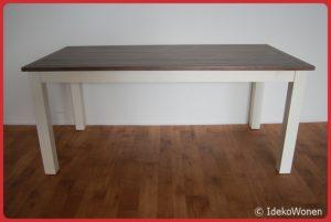 Eetkamertafel wit+houten blad