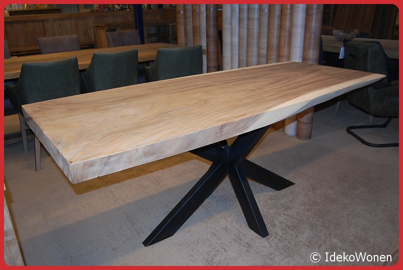 Betere Suar boomstamtafel 200 cm - Uit voorraad leverbaar -Ideko Wonen WB-09