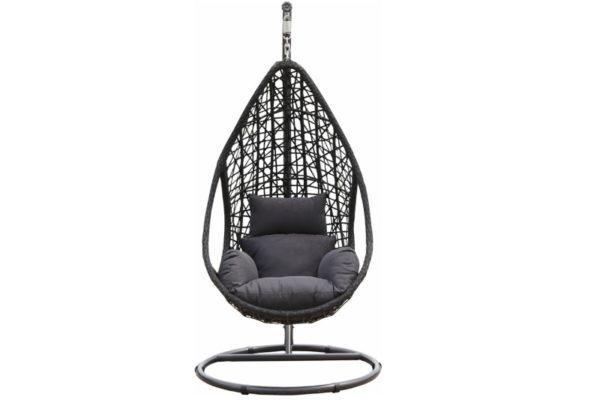 "Wicker relax hangstoel ""mona"" zwart"
