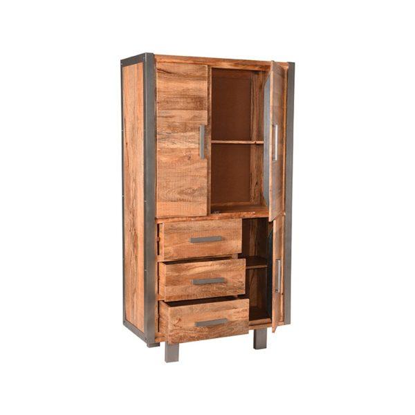 Hoge Kast Factory 100x45x185 cm mango hout+metaal