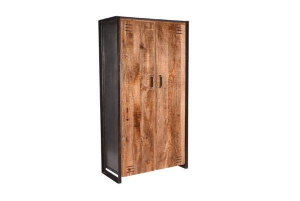 Hoge Kast Lock 2-Deurs 100x45x185 cm mango hout + metaal